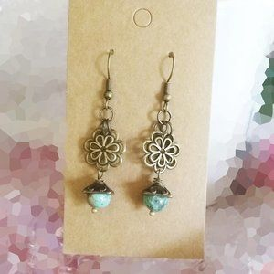 Turquoise Howlite + Bronze Floral Dangle Earrings